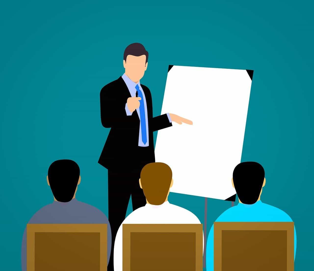 Un dessin d'une conférence