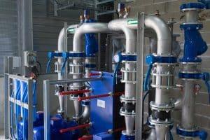 eau, machine, usine, bleu, fabrication, produit, Tuyaux, tubes, Station de pompage